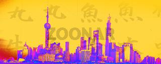Farbige mit chinesischen Schriftzeichen stilisierte Grafik, Skyline von Pudong mit Oriantal Pearl Tower, Bottleopener und Shanghai Tower