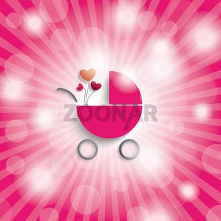 Pink Sky Rays Girl Baby Buggy