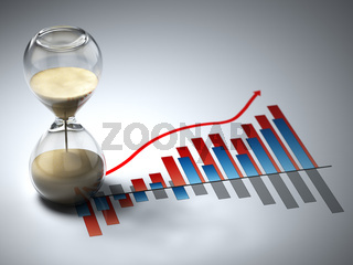 Business concept. Hourglass and graph.
