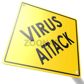 Road sign with virus attack