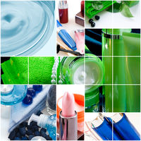 cosmetics and hygiene products as healthcare background