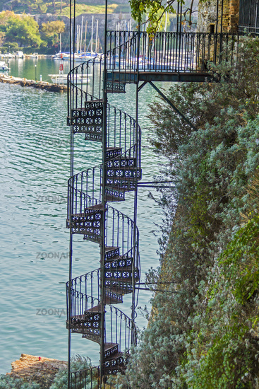 Spiral Staircase To The Beach Corfu Greece