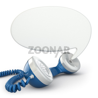 Telephone receiver and speech bubble.