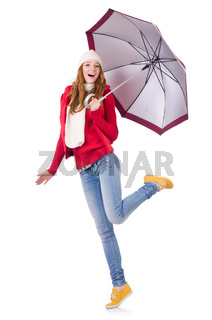 Young woman with umbrella on white