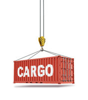 Metal freight shipping containers on the hooks at white background.