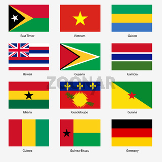 Set  Flags of world sovereign states. Vector illustration. Set number 4.