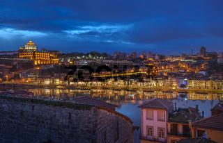 Night panorama of Porto and Vila Nova de Gaia, Portugal