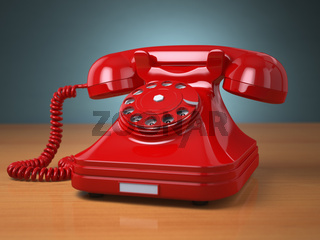 Vintage phone on green background. Hotline support concept.