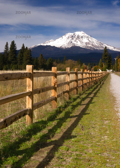 Ranch Fence Row Countryside Rural California Mt Shasta