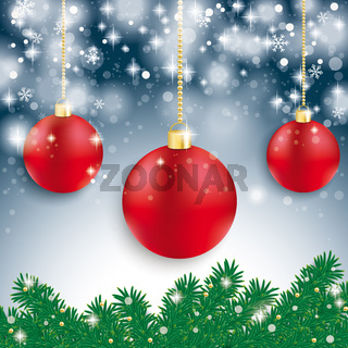 Red Baubles Light Fir Branch Blue Background
