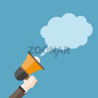 Flat Hand Bullhorn Speech Bubble Cloud