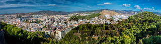 Panorama of Malaga city, view from the Gibralfaro fortress. Andalusia, Spain