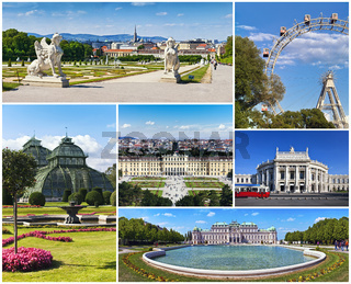 Collage with famous places, landmarks and buildings of Vienna.