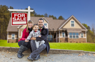 Mixed Race Family, Home, For Sale Real Estate Sign