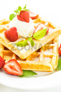 waffle with strawberry