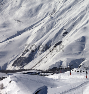 View on ski resort Gudauri in sunny day