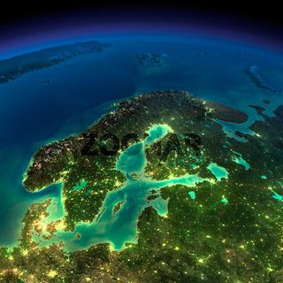 Night Earth. Europe. Scandinavia