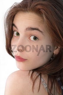beautiful girl looking back over here shoulder, isolated on white