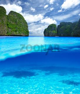 Beautiful lagoon with white sand bottom underwater view