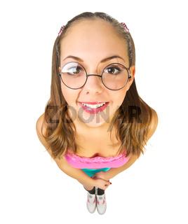 Funny schoolgirl with nerd glasses isolated