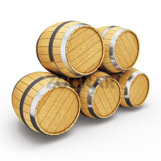 Wooden barrels isolated on white