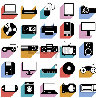 Collection flat icons with long shadow. Eectronic devices symbols. Vector illustration.
