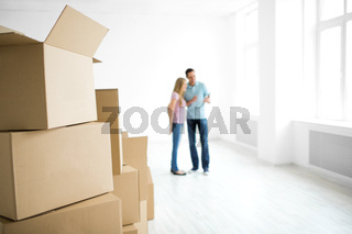 Couple with boxes