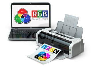 CMYK and RGB color models. Laptop and printer.