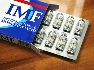 Concept of IMF tranches. Pack of dollars as pills in blister pack.