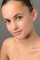 Teenage girl bare shoulders skin beauty close-up