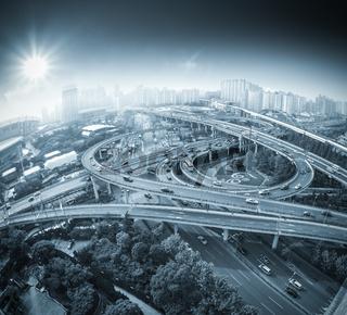 city overpass view of fisheye