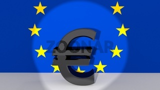 Currency symbol Euro made of dark metal in spotlight in front of European flag