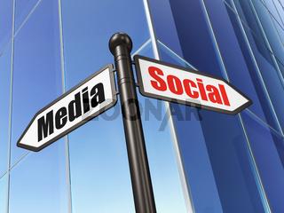 Social media concept: sign Social Media on Building background