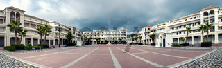 Panoramic view of empty Plaza de Espana square in Nerja. Malaga, Spain