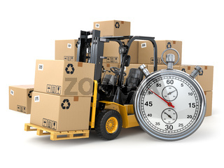 Forklift truck with  boxes and stopwatch .Express delivery concept.