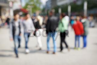 defocused city people