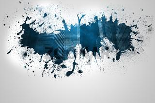 Splash on wall revealing digital city