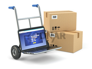 Online delivery concept. Laptop as hand truck and boxes.