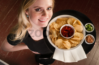 Beautiful Blonde Server Waitress Carries Tray Wine Glasses Blue Eyes