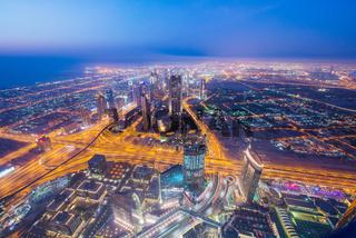 Panoram of night Dubai during sunset