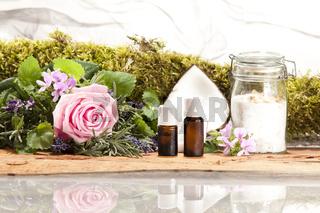 Rose Kräuter Rosengeranie Lavendelarten sowie Kokosnuss und Rosenzucker