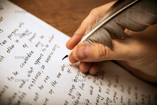 writer writes a fountain pen on paper work