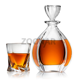 Carafe and glass of whiskey