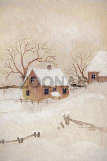 Winter scene with farmhouse, digitally altered