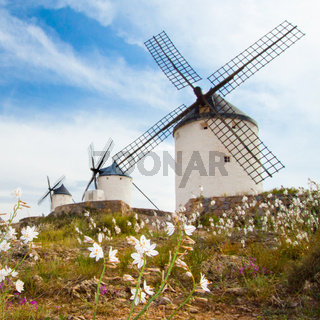 Vintage windmills in La Mancha.