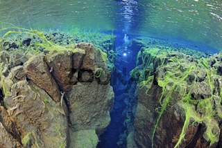 Kontinentale Silfra Spalte und Taucher, Island, Silfra Crack and scuba diver, continental fissure, Iceland, MR