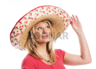 blonde frau mit sombrero