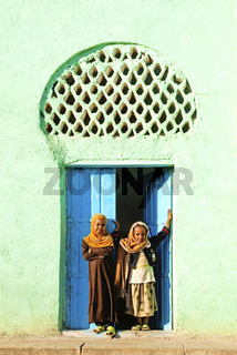 veiled children by mosque in harar ethiopia