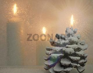 weiße Weihnachts - Kerzen