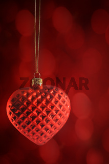 Red heart ornament hanging